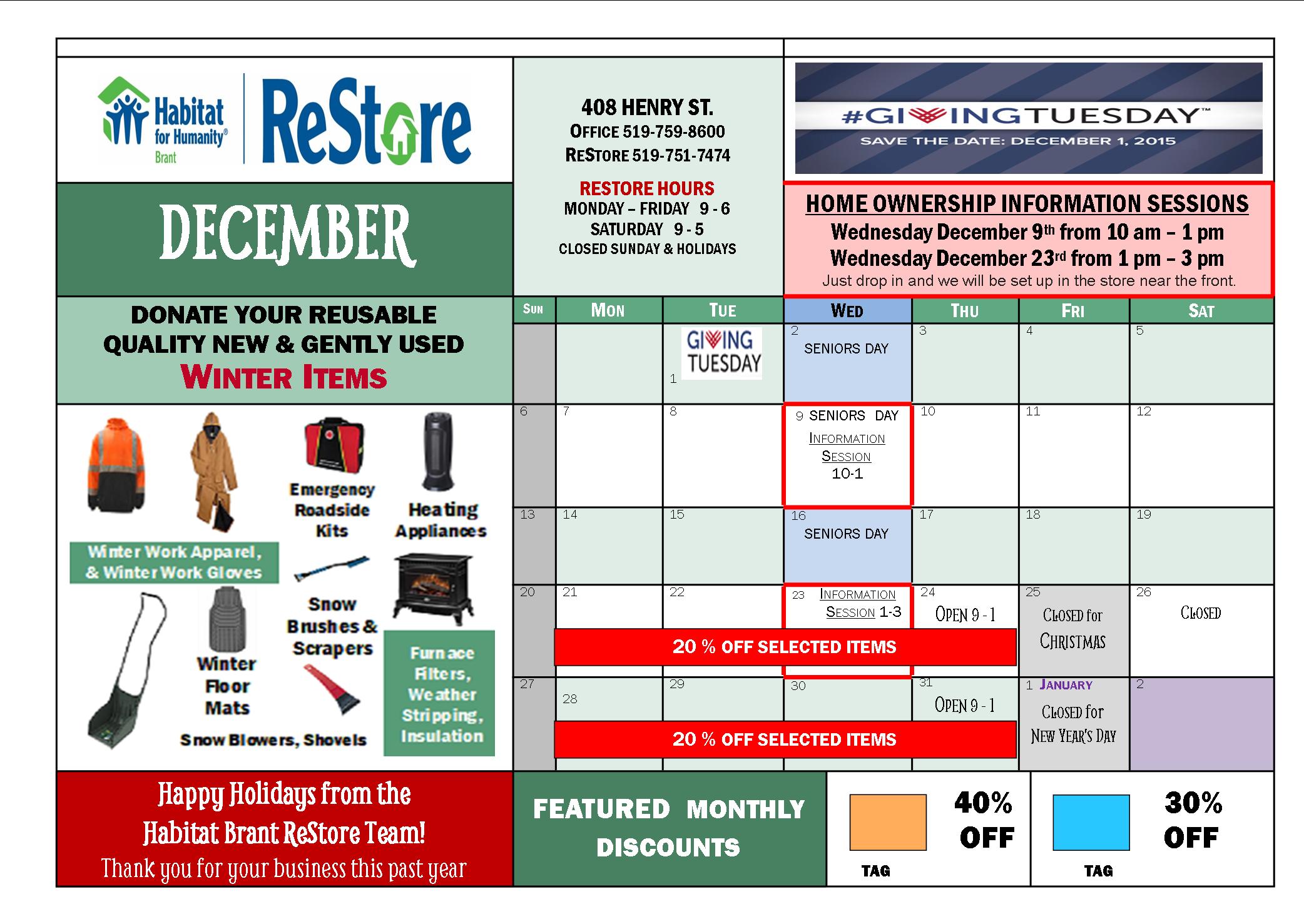 december Restore calendar