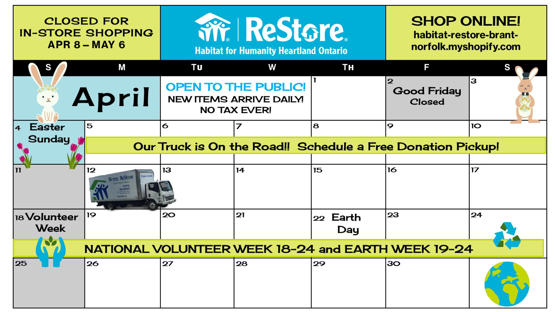 Read more about the article April 2021 ReStore Calendar: Brantford & Simcoe